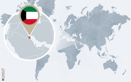 magnified: Abstract blue world map with magnified Kuwait. Kuwait flag and map. Vector Illustration.
