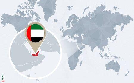 Resumen mapa del mundo azul con magnificados Emiratos Árabes Unidos. bandera de EAU y mapa. Ilustración del vector.