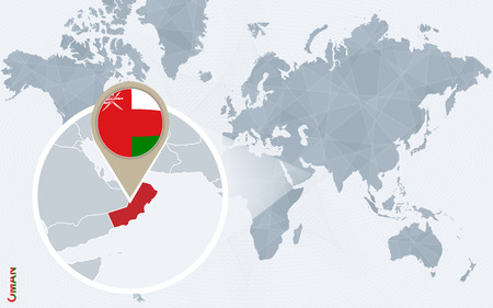 Abstract blue world map with magnified Oman. Oman flag and map. Vector Illustration. Illustration