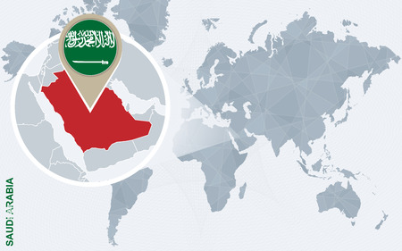 saudi arabia: Abstract blue world map with magnified Saudi Arabia. Saudi Arabia flag and map. Vector Illustration.