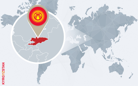 magnified: Abstract blue world map with magnified Kyrgyzstan. Kyrgyzstan flag and map. Vector Illustration.