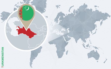 Turkmenistan Flag Location Map Pin Icon On White Background
