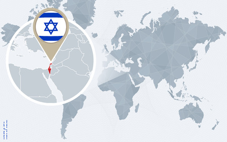 Abstract Blue World Map With Magnified Israel. Israel Flag And ...