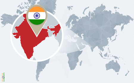magnified: Abstract blue world map with magnified India. India flag and map. Vector Illustration.
