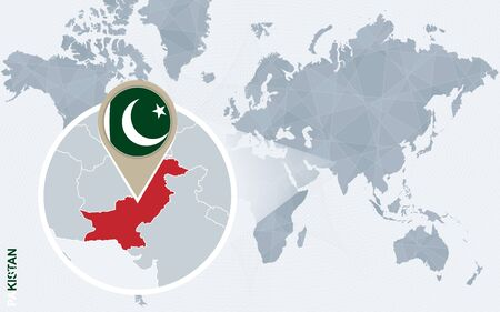 magnified: Abstract blue world map with magnified Pakistan. Pakistan flag and map. Vector Illustration.