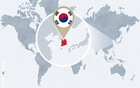 Abstrakte blaue Weltkarte mit vergrößerten Südkorea. Südkorea Flagge und Karte. Vektor-Illustration.