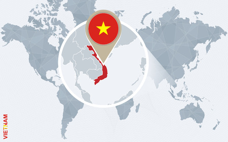 magnified: Abstract blue world map with magnified Vietnam. Vietnam flag and map. Vector Illustration.
