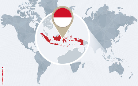 Abstract blue world map with magnified Indonesia. Indonesia flag and map. Vector Illustration.