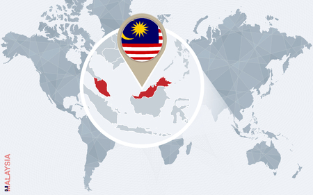 Abstract blue world map with magnified Malaysia. Malaysia flag and map. Vector Illustration.  イラスト・ベクター素材
