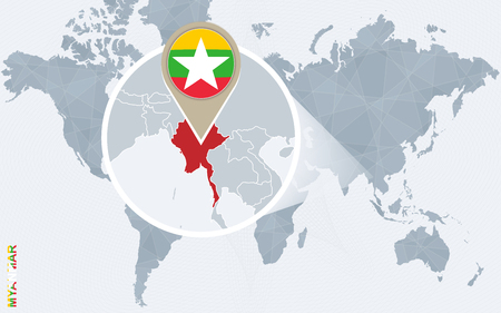 Abstract blue world map with magnified Myanmar. Myanmar flag and map. Vector Illustration.