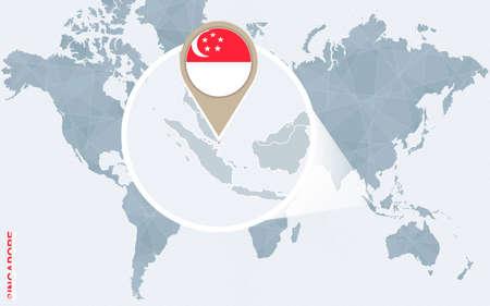 singaporean flag: Abstract blue world map with magnified Singapore. Singapore flag and map. Vector Illustration. Illustration
