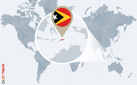 timor: Abstract blue world map with magnified East Timor. East Timor flag and map. Vector Illustration.