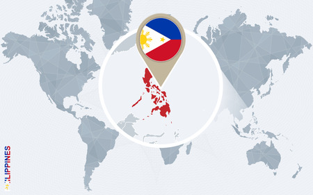 Abstract blue world map with magnified Philippines. Philippines flag and map. Vector Illustration.