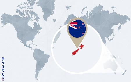 administrativo: Resumen mapa del mundo azul con magnificada Nueva Zelanda. Nueva Zelanda bandera y el mapa. Ilustración del vector.