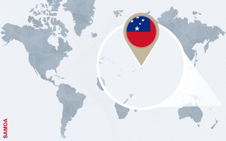 national geographic: Abstract blue world map with magnified Samoa. Samoa flag and map. Vector Illustration.