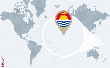Abstract blue world map with magnified Kiribati. Vector Illustration. Illustration