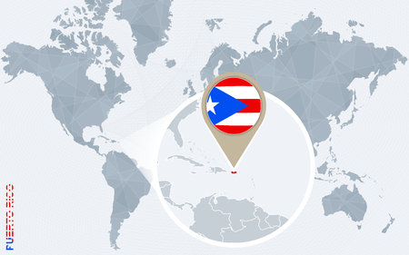 Abstract blue world map with magnified Puerto Rico. Puerto Rico flag and map. Vector Illustration.