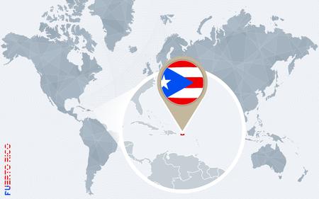Resumen mapa del mundo azul con magnificada Puerto Rico. bandera de Puerto Rico y el mapa. Ilustración del vector.