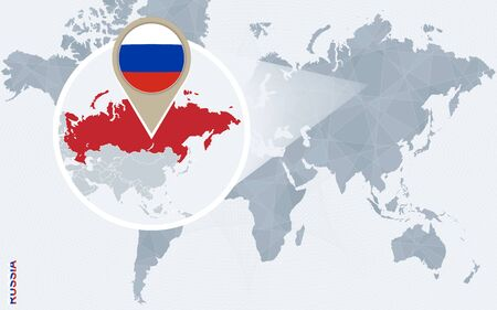moscow city: Abstract blue world map with magnified Russia. Russia flag and map. Vector Illustration.