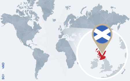 magnified: Abstract blue world map with magnified Scotland. Scotland flag and map. Vector Illustration.