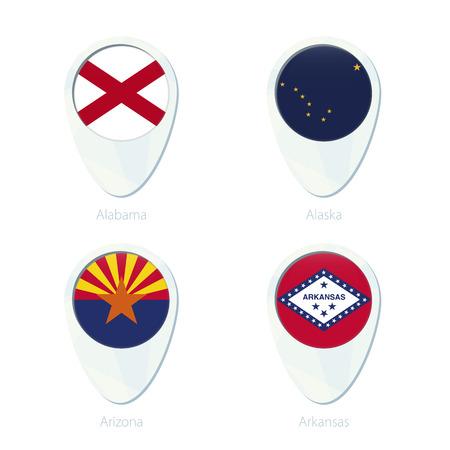 Alabama, Alaska, Arizona, Arkansas flag location map pin icon. Alabama State Flag, Alaska State Flag, Arizona State Flag, Arkansas State Flag. Vector Illustration.