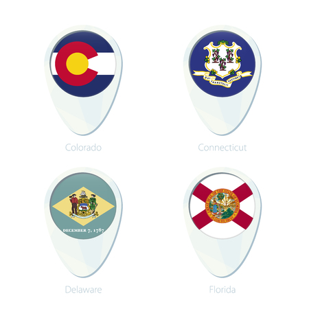 colorado flag: Colorado, Connecticut, Delaware, Florida flag location map pin icon. Colorado State Flag, Connecticut State Flag, Delaware State Flag, Florida State Flag. Vector Illustration.