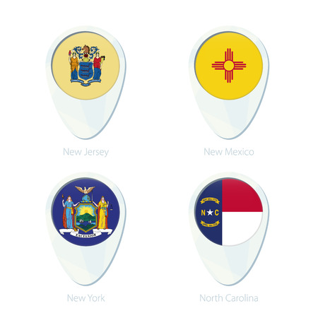 new york state: New Jersey, New Mexico, New York, North Carolina flag location map pin icon. New Jersey State Flag, New Mexico State Flag, New York State Flag, North Carolina State Flag. Vector Illustration. Illustration