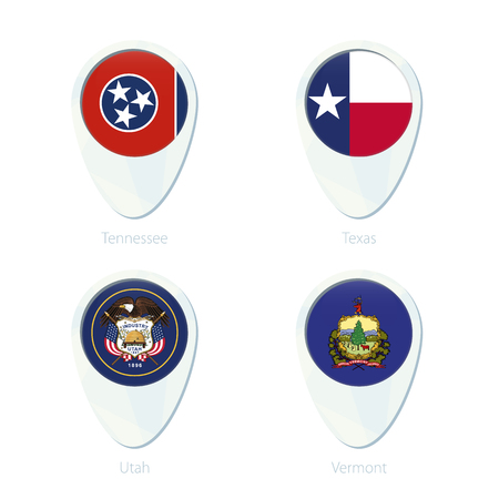 Tennessee, Texas, Utah, Vermont flag location map pin icon. Tennessee State Flag, Texas State Flag, Utah State Flag, Vermont State Flag. Vector Illustration.
