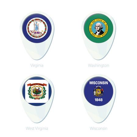 wisconsin state: Virginia, Washington, West Virginia, Wisconsin flag location map pin icon. Virginia State Flag, Washington State Flag, West Virginia State Flag, Wisconsin State Flag. Vector Illustration.