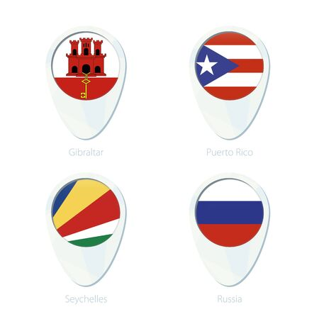 Gibraltar, Puerto Rico, Seychelles, Russia flag location map pin icon. Gibraltar Flag, Puerto Rico Flag, Seychelles Flag, Russia Flag. Vector Illustration.