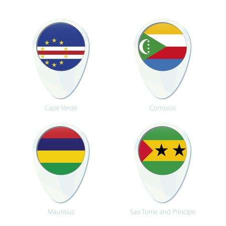 cape verde flag: Cape Verde, Comoros, Mauritius, Sao Tome and Principe flag location map pin icon. Cape Verde Flag, Comoros Flag, Mauritius Flag, Sao Tome and Principe Flag. Vector Illustration. Illustration