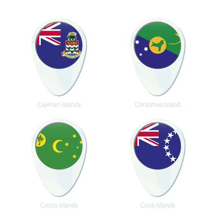 cocos: Cayman Islands, Christmas Island, Cocos Islands, Cook Islands flag location map pin icon. Cayman Islands Flag, Christmas Island Flag, Cocos Islands Flag, Cook Islands Flag. Vector Illustration. Illustration