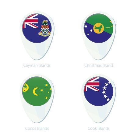 cayman islands: Cayman Islands, Christmas Island, Cocos Islands, Cook Islands flag location map pin icon. Cayman Islands Flag, Christmas Island Flag, Cocos Islands Flag, Cook Islands Flag. Vector Illustration. Illustration