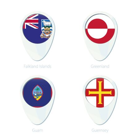 Falkland Islands, Greenland, Guam, Guernsey flag location map pin icon. Falkland Islands Flag, Greenland Flag, Guam Flag, Guernsey Flag. Vector Illustration.