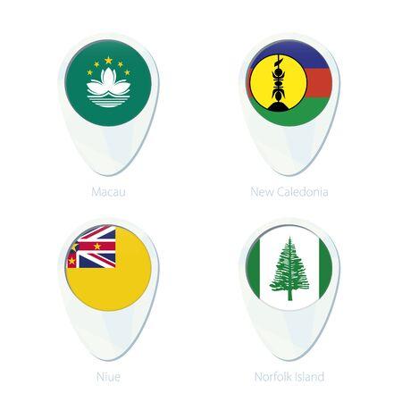 niue: Macau, New Caledonia, Niue, Norfolk Island flag location map pin icon. Macau Flag, New Caledonia Flag, Niue Flag, Norfolk Island Flag. Vector Illustration.