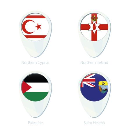 national geographic: Northern Cyprus, Northern Ireland, Palestine, Saint Helena flag location map pin icon. Northern Cyprus Flag, Northern Ireland Flag, Palestine Flag, Saint Helena Flag. Vector Illustration.