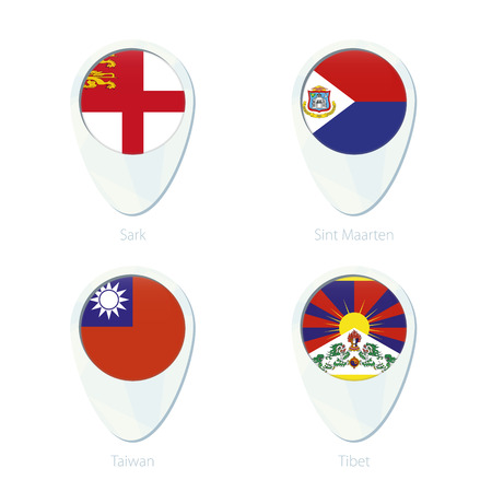 tibet: Sark, Sint Maarten, Taiwan, Tibet flag location map pin icon. Sark Flag, Sint Maarten Flag, Taiwan Flag, Tibet Flag. Vector Illustration.