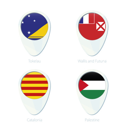 Tokelau, Wallis and Futuna, Catalonia, Palestine flag location map pin icon. Tokelau Flag, Wallis and Futuna Flag, Catalonia Flag, Palestine Flag. Vector Illustration.