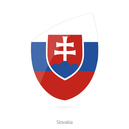 all european flags: Flag of Slovakia. Slovakian Rugby flag. Vector Illustration.