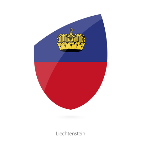 pennon: Flag of Liechtenstein in the style of Rugby icon. Vector Illustration.