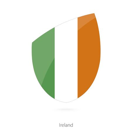 irish map: Flag of Ireland in the style of Rugby icon. Vector Illustration. Illustration