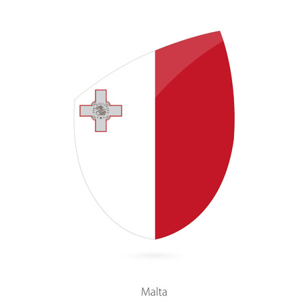 maltese map: Flag of Malta in the style of Rugby icon. Vector Illustration.