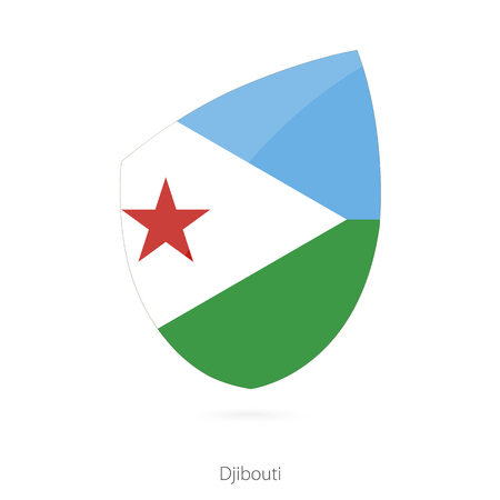 all european flags: Flag of Djibouti. Djibouti Rugby flag. Vector Illustration.