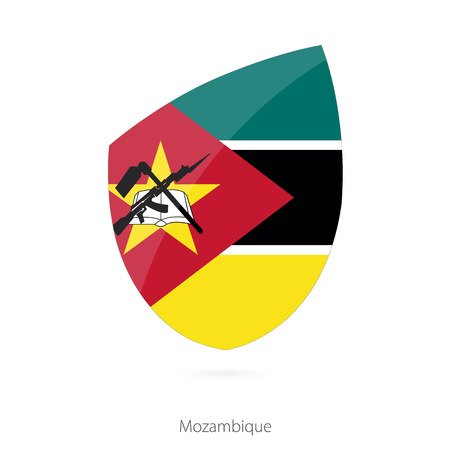 pennon: Flag of Mozambique in the style of Rugby icon. Vector Illustration.