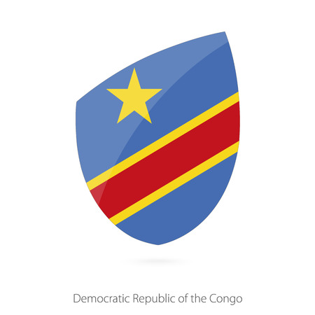 zaire: Flag of DR Congo in the style of Rugby icon. Vector Illustration. Illustration
