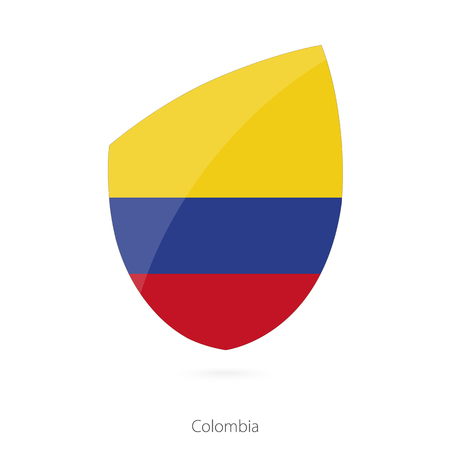 pennon: Flag of Colombia in the style of Rugby icon. Vector Illustration.
