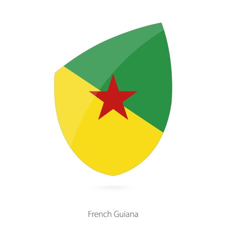 guiana: Flag of French Guiana in the style of Rugby icon. Vector Illustration.