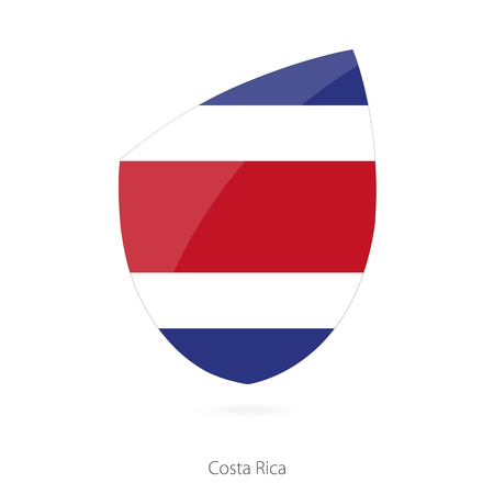 pennon: Flag of Costa Rica in the style of Rugby icon. Vector Illustration.