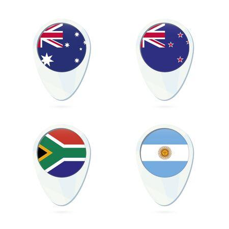bandera de nueva zelanda: Australia, Nueva Zelanda, Sudáfrica, Argentina ubicación marcador icono de mapa de pines. Australia bandera, bandera de Nueva Zelanda, Bandera de Suráfrica, Bandera Argentina. Ilustración del vector.
