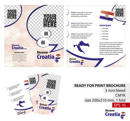 bleed: Brochure Design Template, Discover Croatia. Ready for Print, 3 mm Bleed. Flayer, Leaflet, Booklet Template. Vector Illustration.